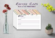 Free Flowery Recipe Card Printable V32