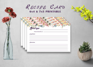 Free Flowery Recipe Card Printable V32