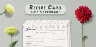 Free Vintage Floral Recipe Card Printable V30