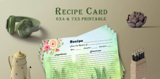 Free Watercolor Recipe Card Template V25