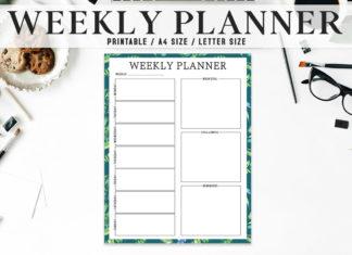 Free Artistic Weekly Planner Printable
