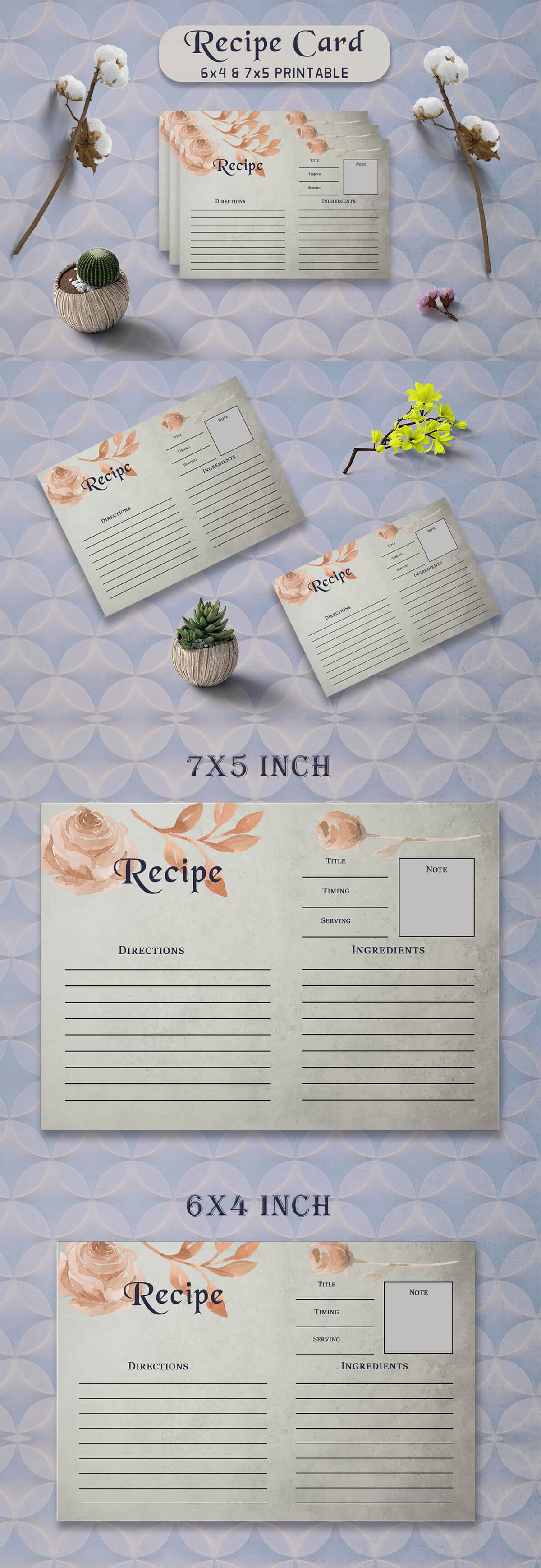 Free Brown Floral Recipe Card Template