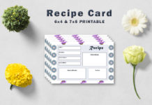Free Decorative Floral Recipe Card Template