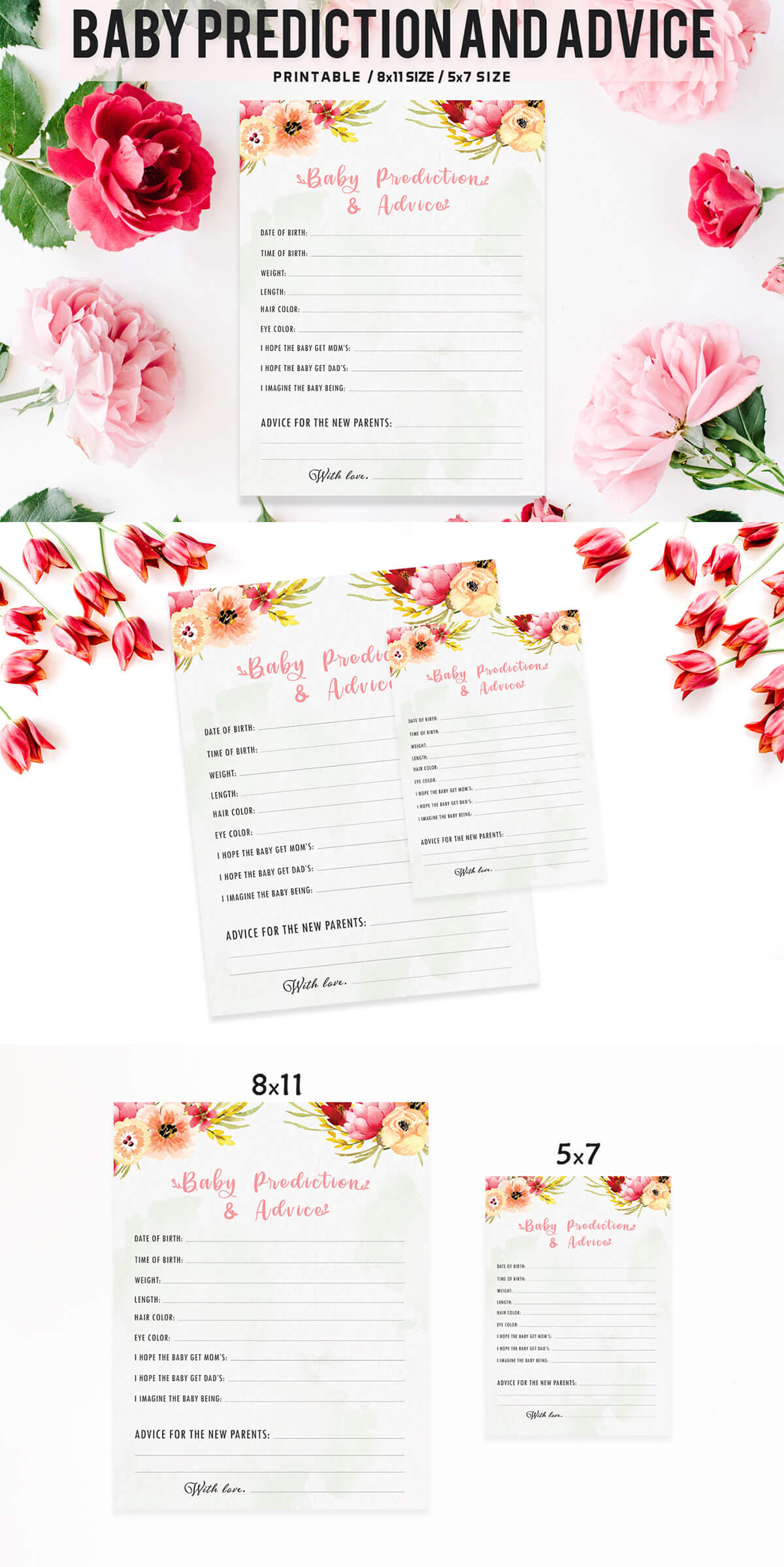 Free Floral Baby Prediction And Advice Printable Template V2