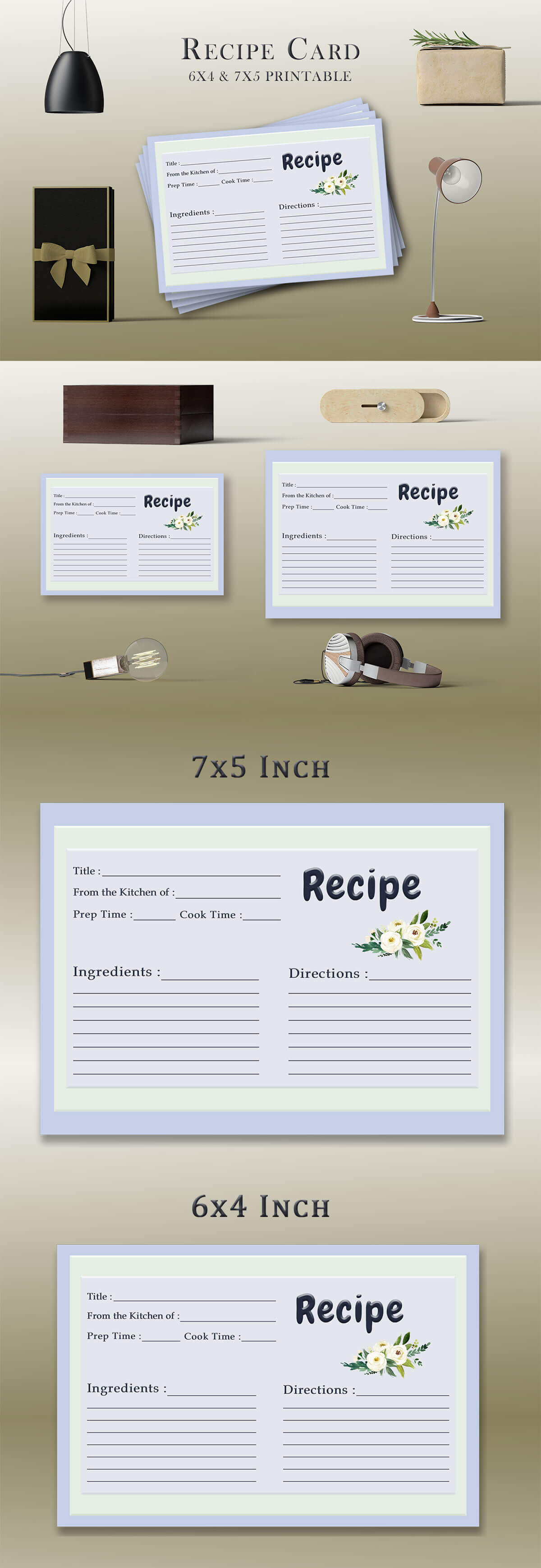 Free Floral Bouquet Recipe Card Template