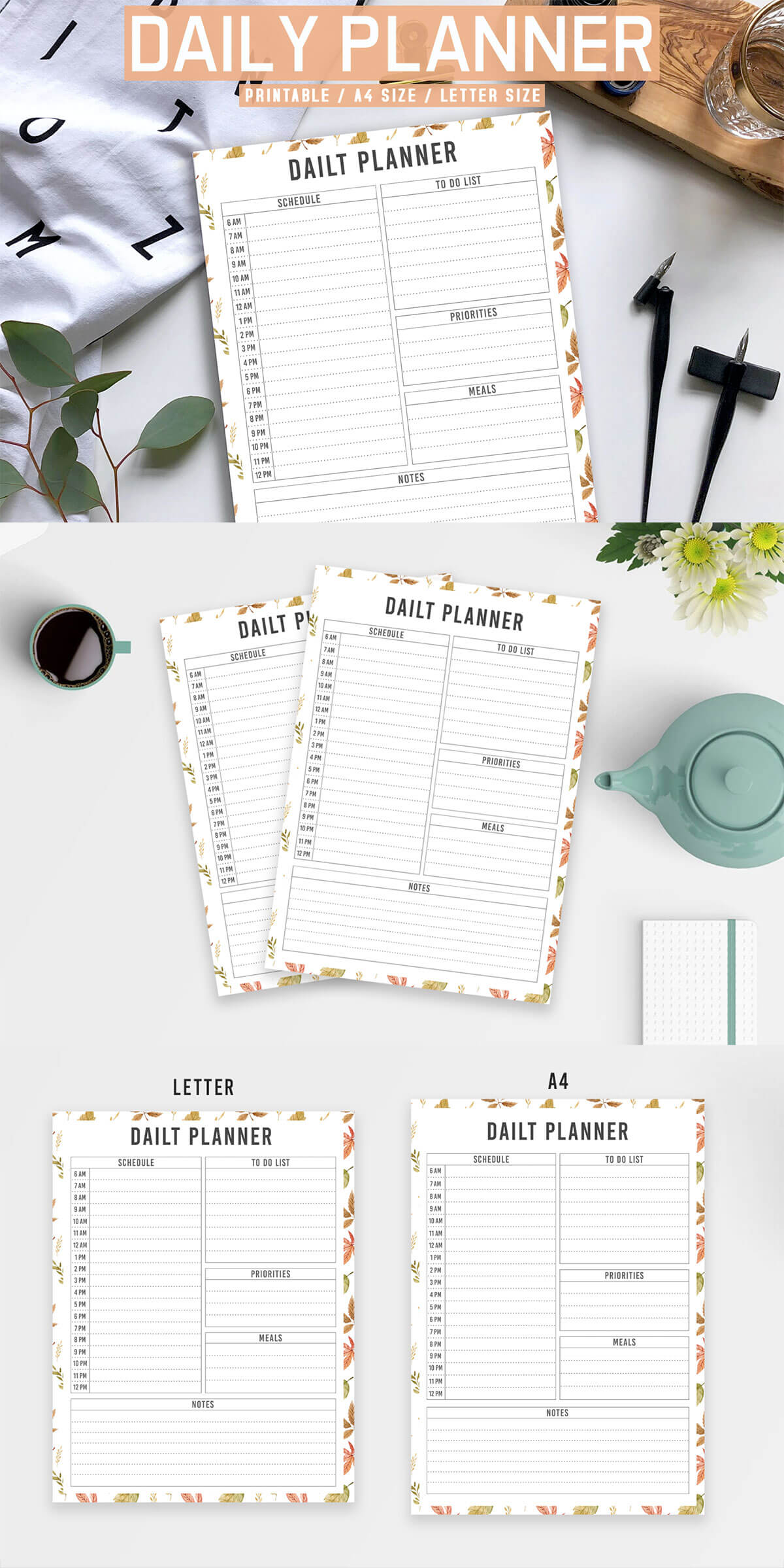 Free Floral Daily Planner Printable V3