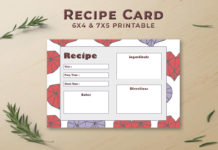 Free Heart Pattern Recipe Card Template