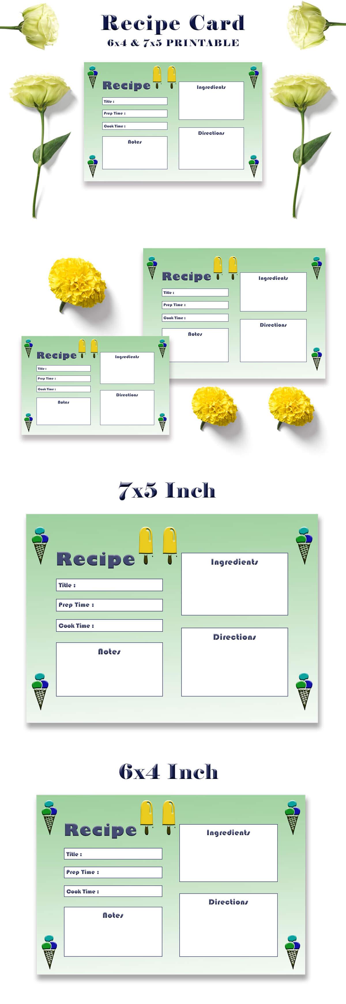 Free Ice Cream Recipe Card Template