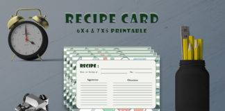 Free Kitchen Texture Recipe Card Template