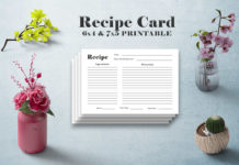 Free Minimal Recipe Card Template V1