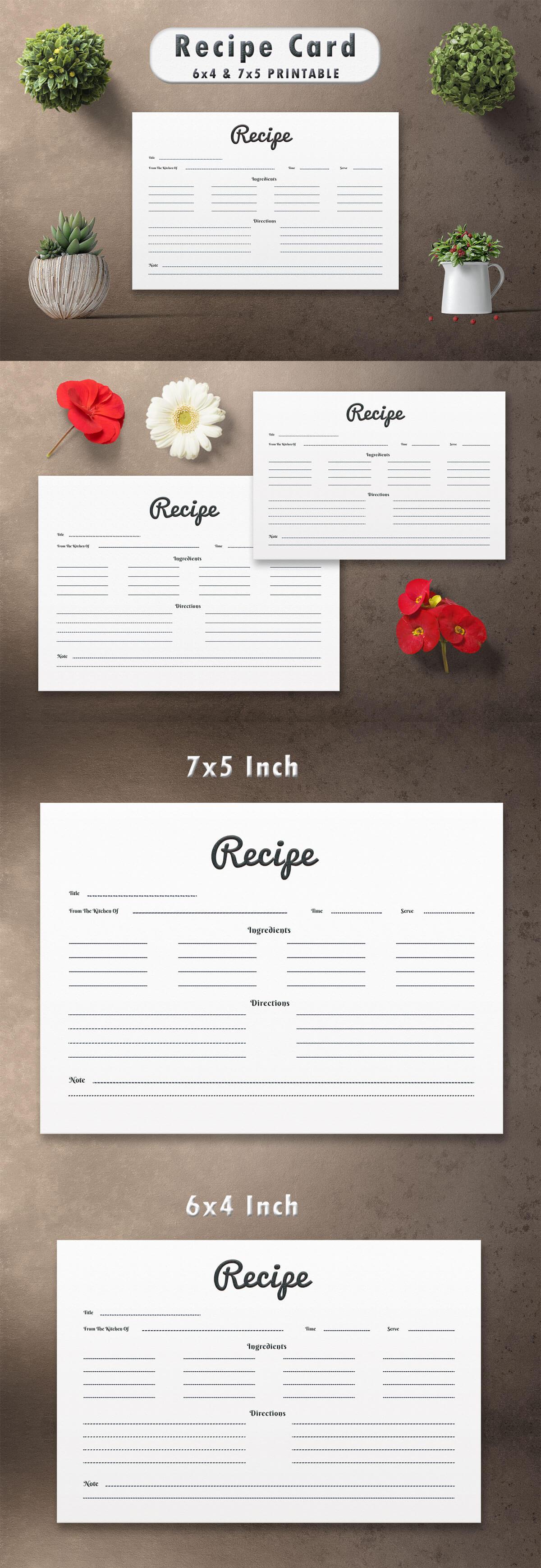 Free Modern Recipe Card Template