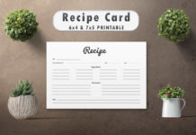 Free Modern Recipe Card Template