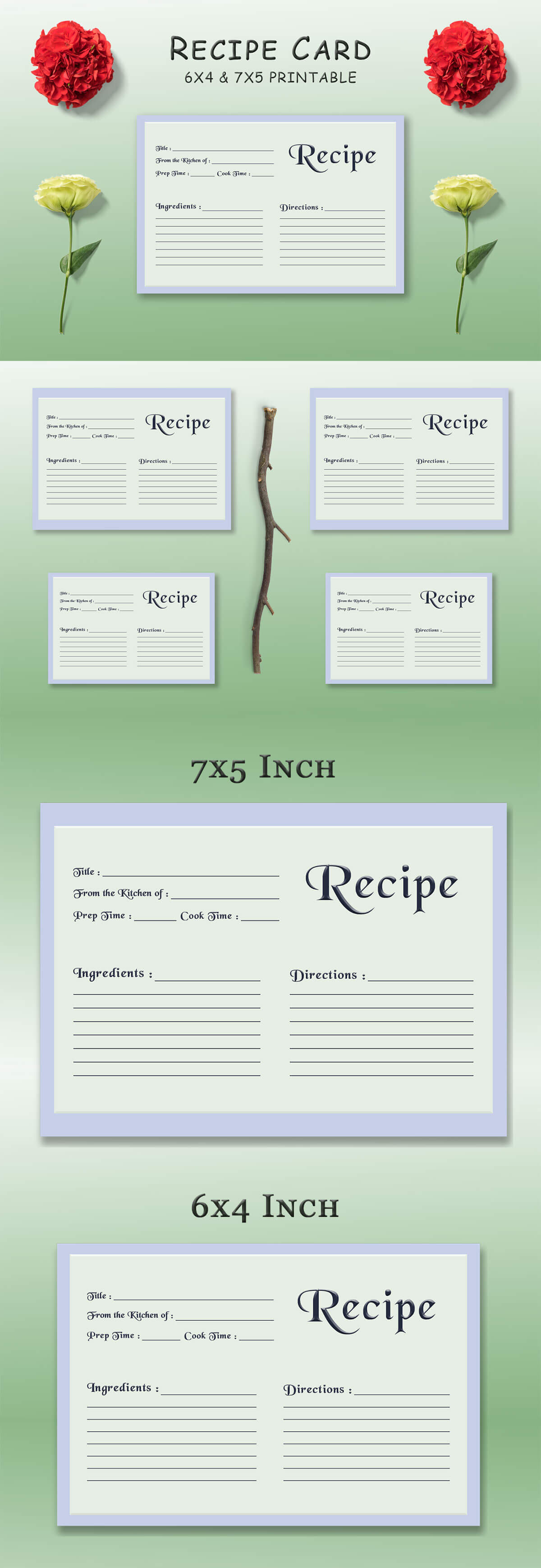 Free Pale Green Recipe Card Template