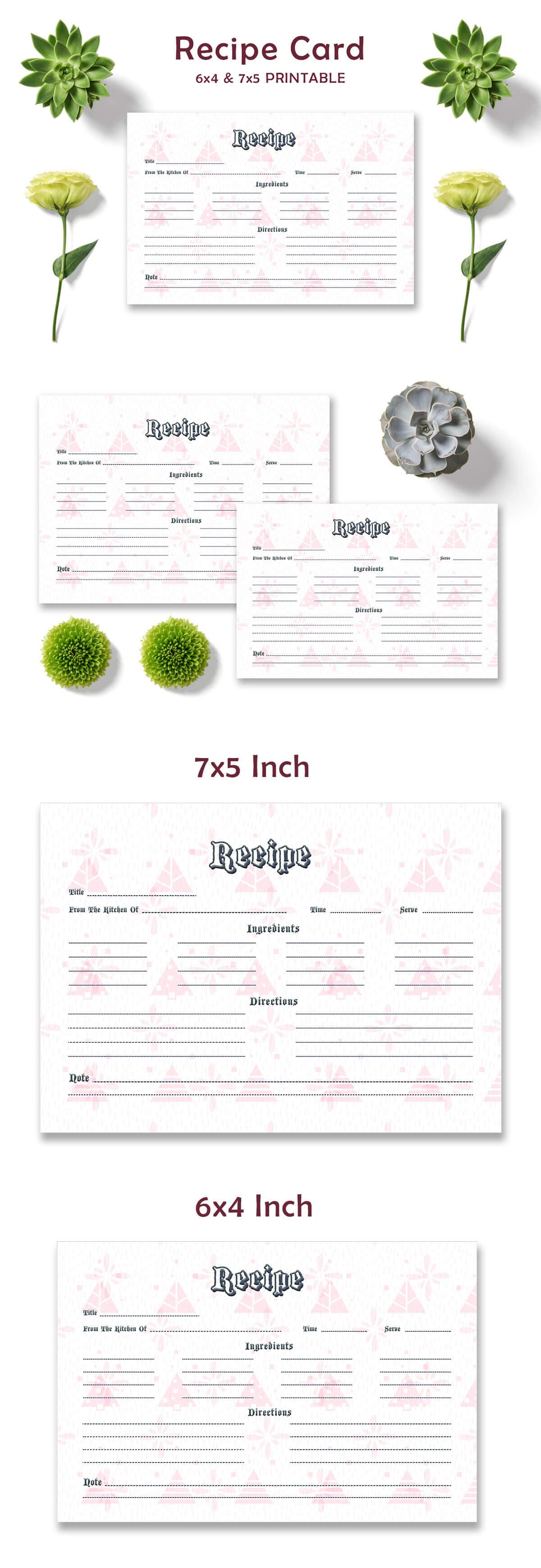 Free Pink Pattern Recipe Card Template