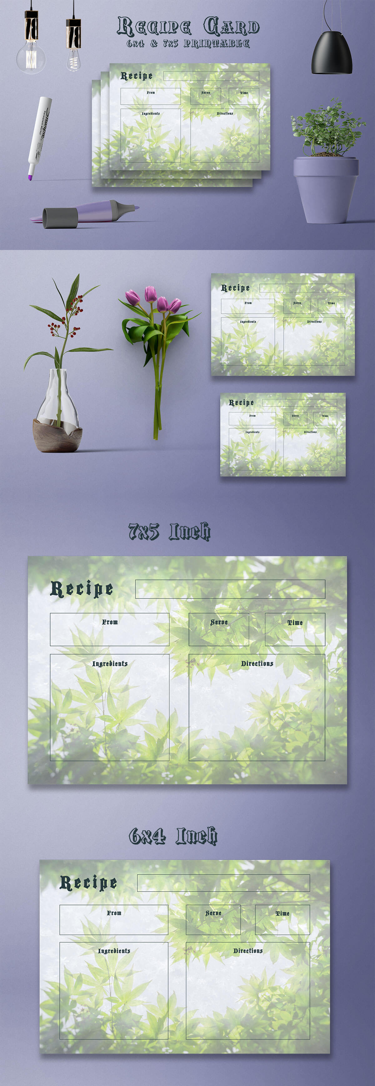 Free Tropical Style Recipe Card Template V36