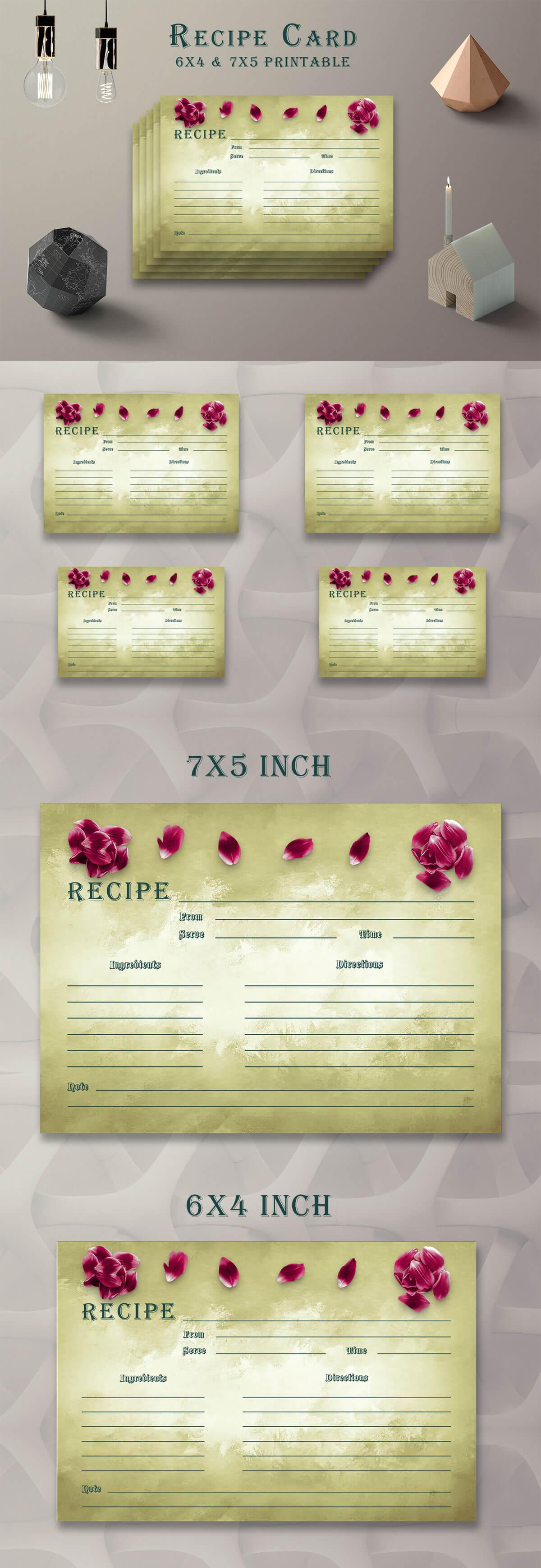 Free Olive Green Recipe Card Printable V38
