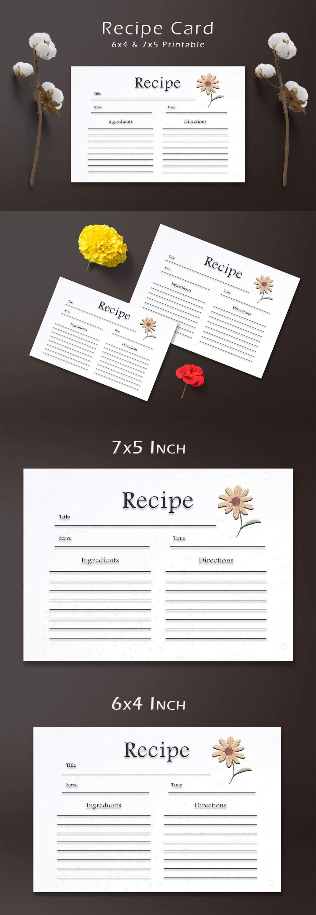Free Sunflower Recipe Card Template