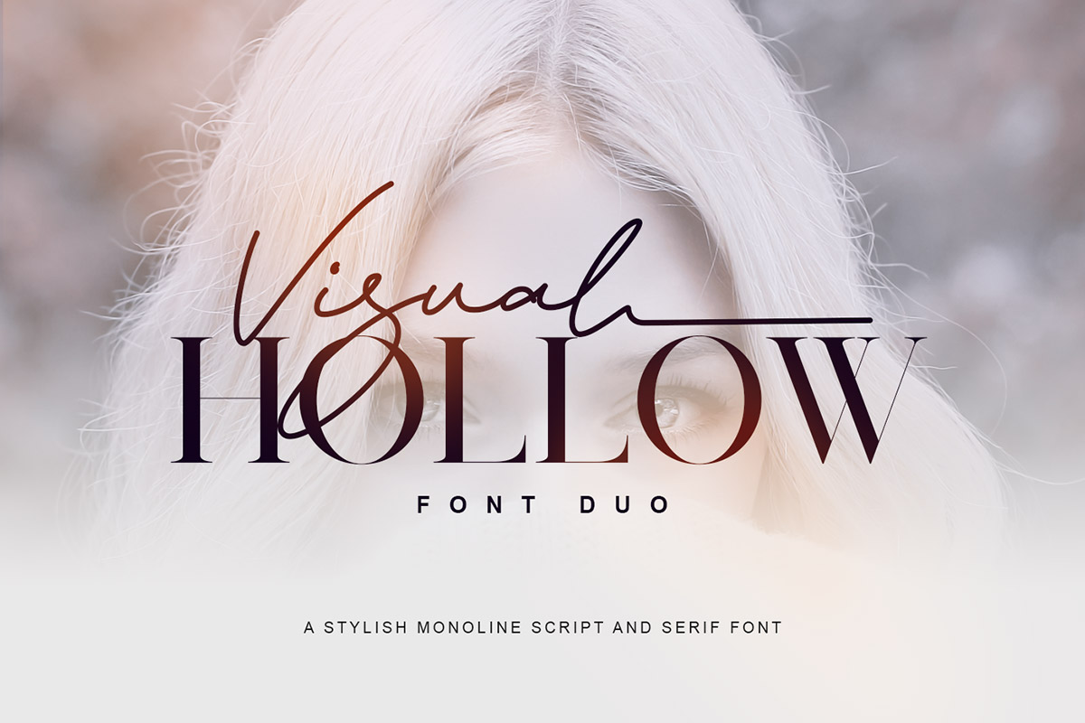 Free Visual Hollow Font Duo