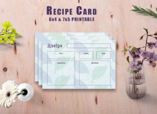 Free Watercolor Recipe Card Printable V35