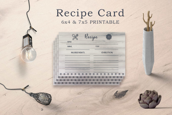 Free Wooden Texture Recipe Card Template