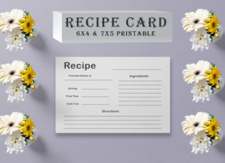 Free Black & White Recipe Card Template V2