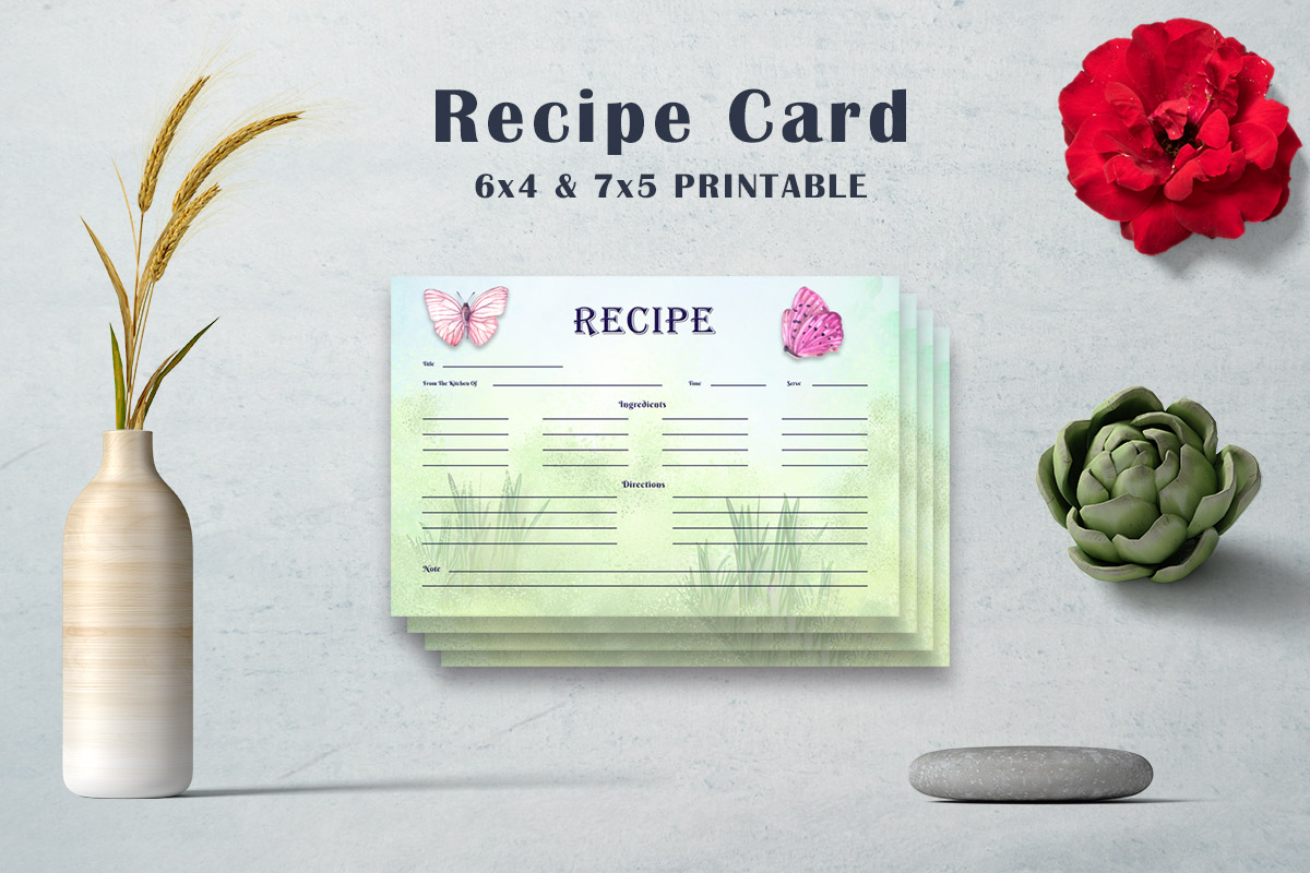Free Butterfly Recipe Card Template