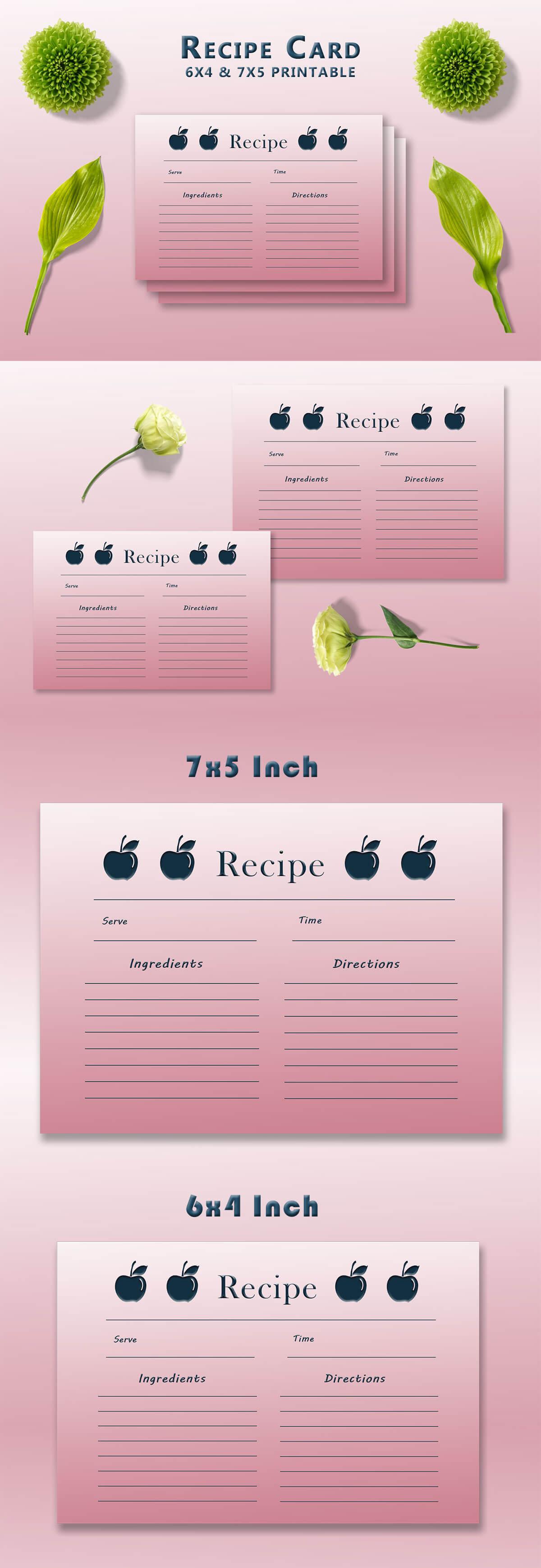 Free Apple Recipe Card Template