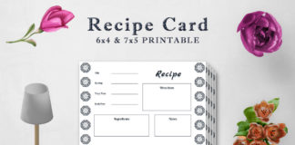 Free Decorative Recipe Card Template V2