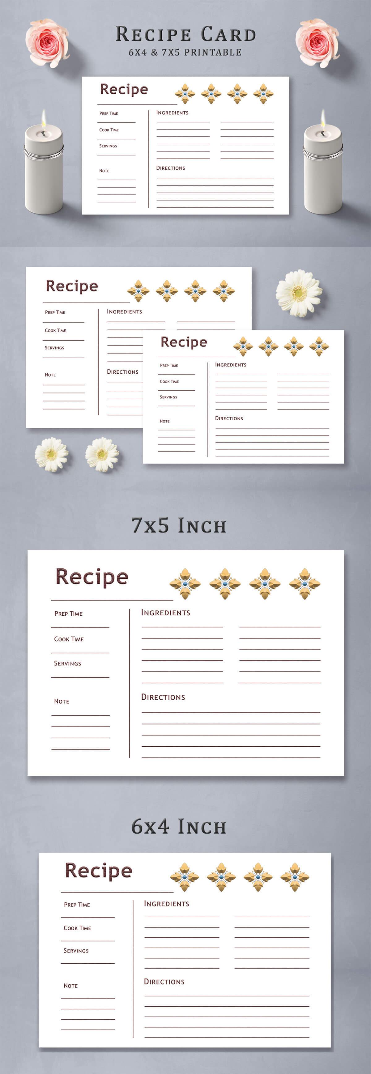 Free Elemental Design Recipe Card Template