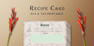 Free Floral Pattern Recipe Card Template