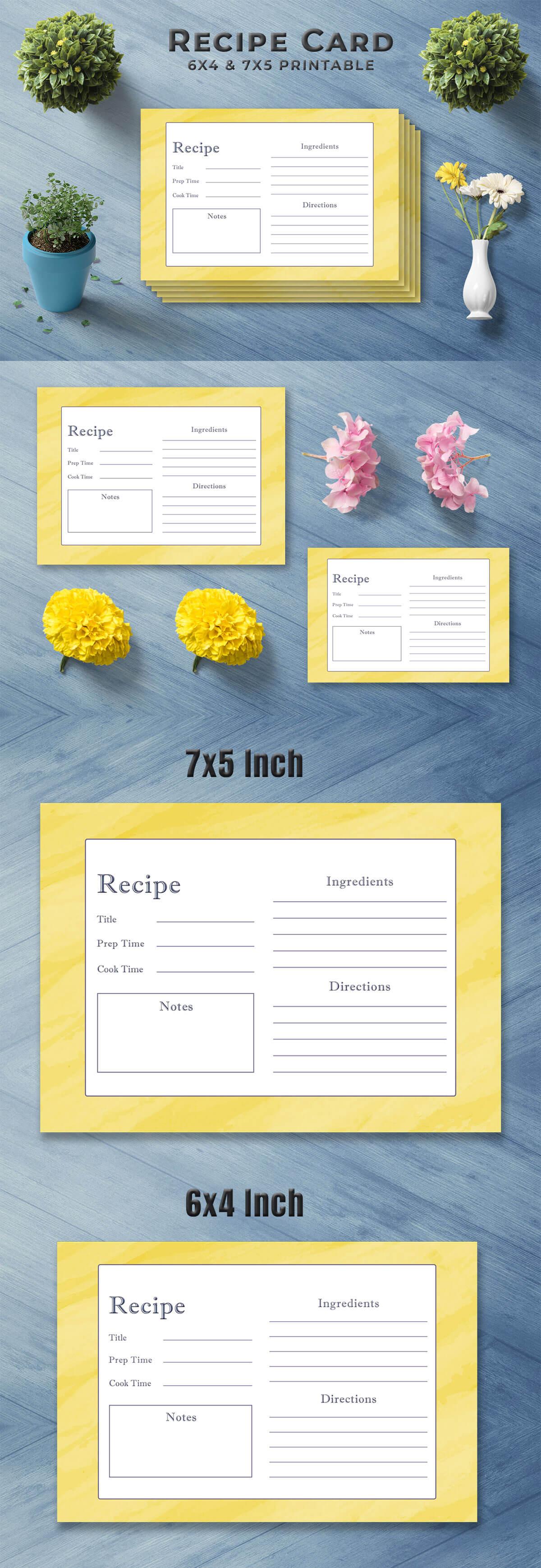 Free Golden Recipe Card Template