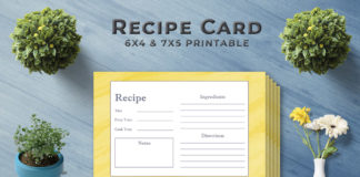Free Golden Recipe Card Template