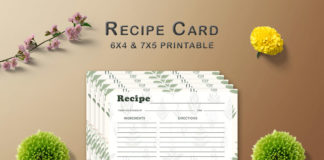 Free Green Pattern Recipe Card Template