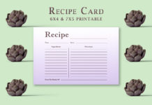 Free Light Purple Recipe Card Template