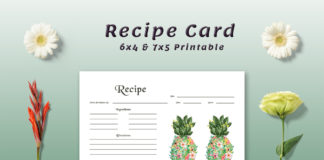 Free Pineapple Recipe Card Template