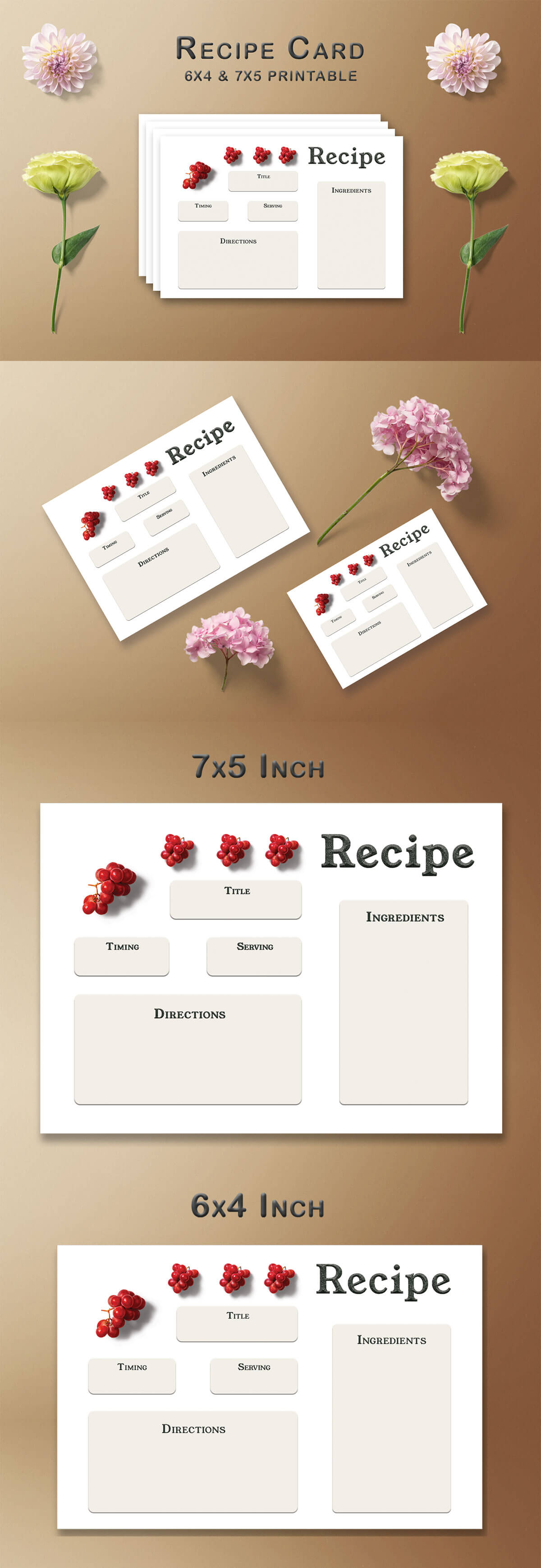 Free Red Grapes Recipe Card Template