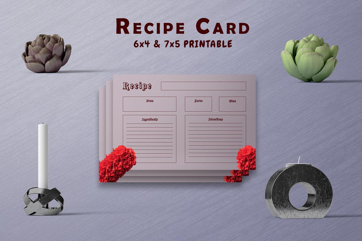Free Rose Dark Recipe Card Template
