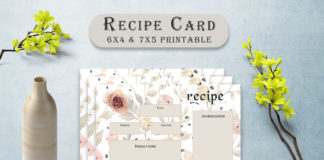 Free Rose Patterned Recipe Card Template