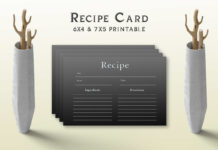 Free Simple Black Recipe Card Template