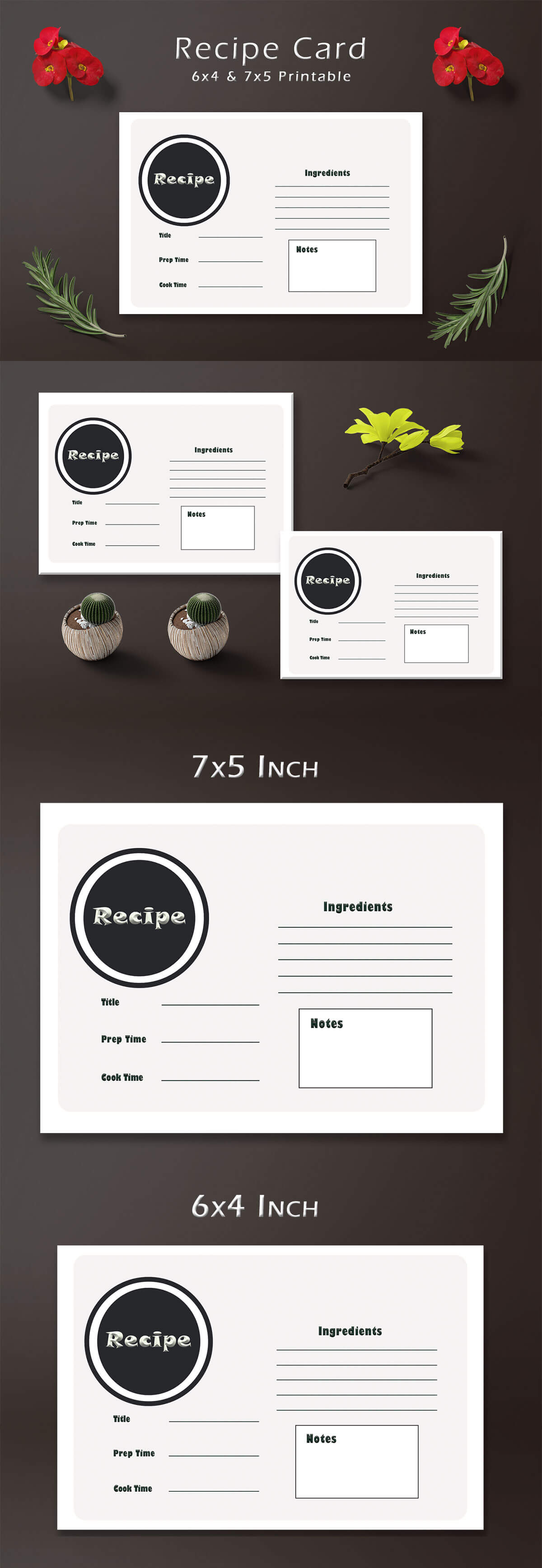Free Simple Recipe Card Template