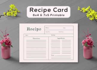 Free Simple Red Colour Recipe Card Template