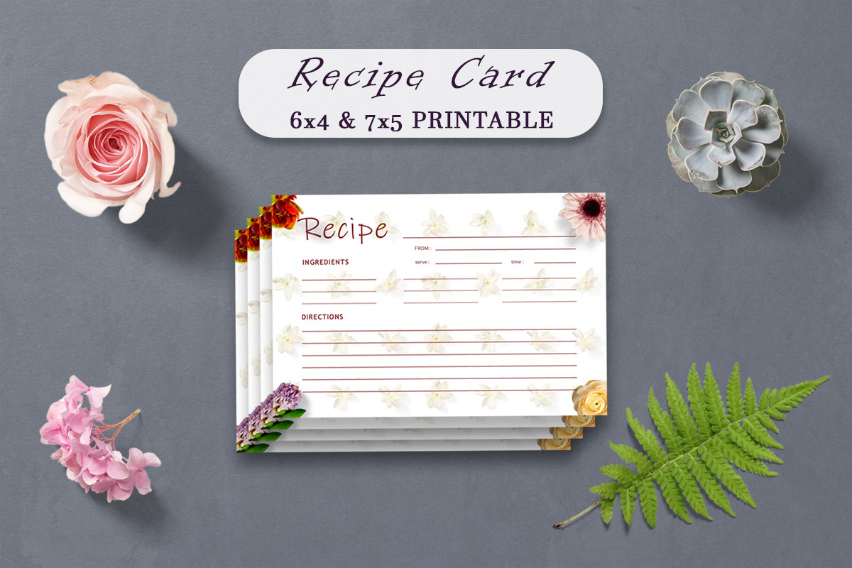 Free Vintage Floral Recipe Card Template