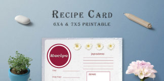 Free White Floral Recipe Card Template