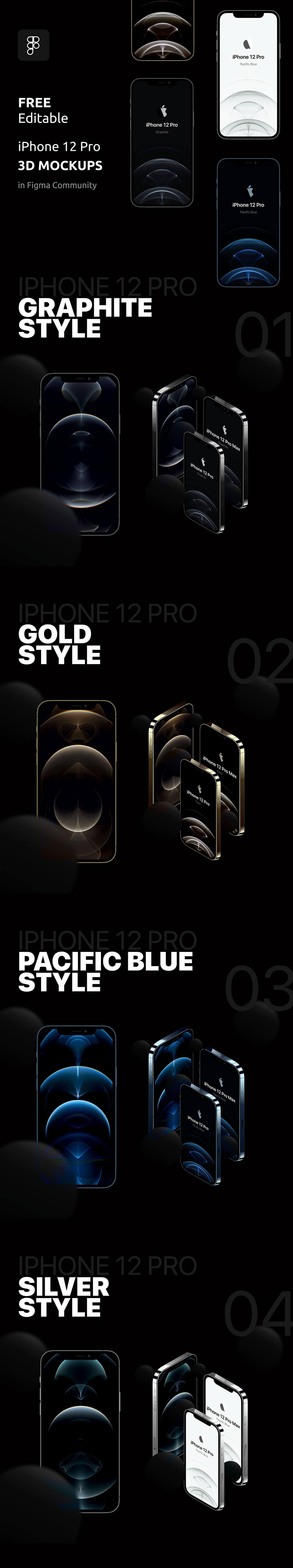 Free iPhone 12 3D Mockups