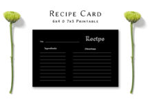 Free Dark Minimal Recipe Card Template