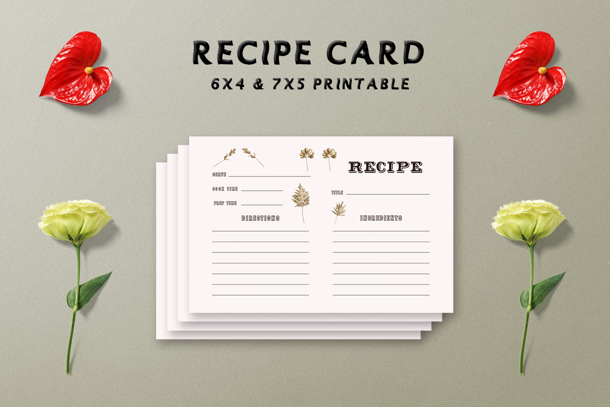 Free Golden Floral Recipe Card Template