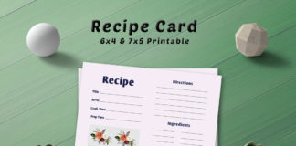 Free Simple Bouquet Recipe Card Template