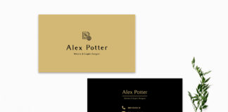 Free Black Golden Business Card Template