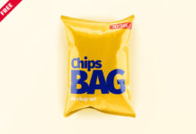 Free Chips Bag Mockup Set