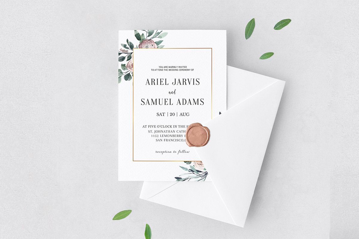 Free Dusty Rose Floral Wedding Invitation Template
